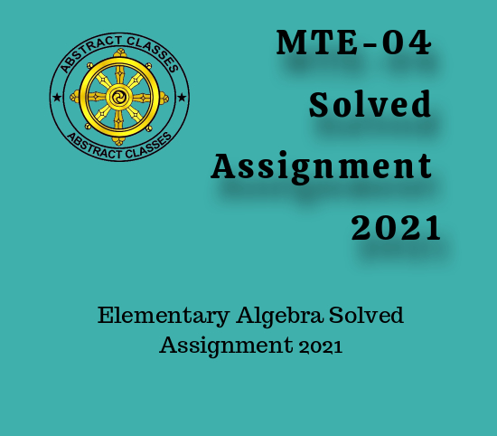 MTE-04 Solved Assignment 2021
