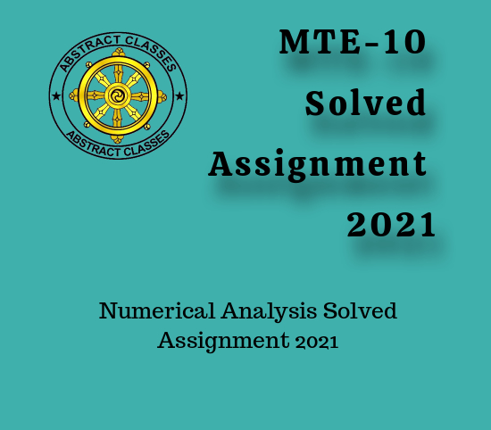 MTE-10 Solved Assignment 2021